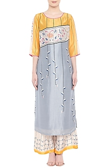 Multi Colored Embroidered Kurta With Palazzo Pants by Soup by Sougat Paul