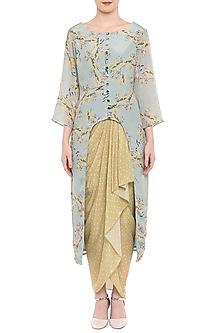 Blush Blue Printed Kurta With Yellow Dhoti Skirt by Soup by Sougat Paul