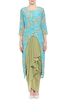 Blue Printed Kurta With Olive Green Dhoti Skirt by Soup by Sougat Paul