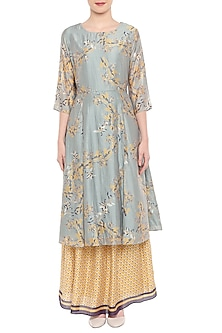 Blush Blue Printed Tunic With Yellow Lehenga Skirt by Soup by Sougat Paul