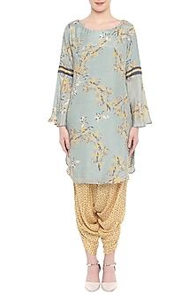 Blush Blue Printed Kurta With Yellow Drape Dhoti Pants by Soup by Sougat Paul
