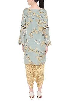 Blush Blue Printed Kurta With Yellow Drape Dhoti Pants by Soup by Sougat Paul