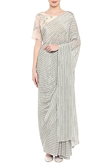 Blue & Off White Printed Embroidered Saree Set by Soup by Sougat Paul