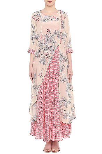 Off White Printed Kurta & Blush Pink Dhoti Skirt by Soup by Sougat Paul