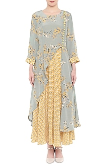 Blue Printed Kurta With Yellow Dhoti Skirt by Soup by Sougat Paul
