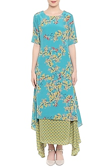 Blue Printed Tunic With Olive Green Handkerchief Skirt by Soup by Sougat Paul