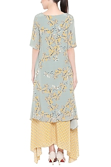 Blue Printed Kurta With Yellow Palazzo Pants by Soup by Sougat Paul