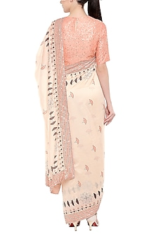 Coral Pink & Off White Printed Saree Set by Soup by Sougat Paul