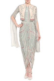 Beige & Blue Printed Dress With Embroidered Jacket by Soup by Sougat Paul