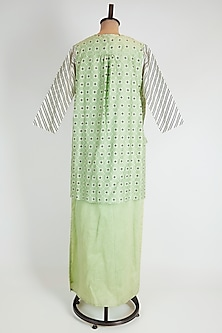 Green Straight Dress With Printed Jacket by Soup by Sougat Paul