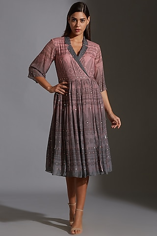 Pink & Grey Printed Embroidered Overlapped Dress by Soup By Sougat Paul