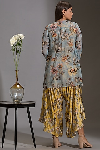 Yellow Printed Jumpsuit With Jacket by Soup By Sougat Paul