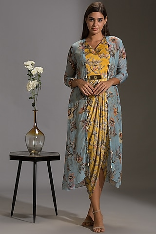 Yellow & Powder Blue Printed Draped Dress With Jacket by Soup By Sougat Paul