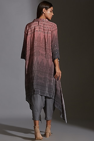 Pink & Grey Printed Embroidered Asymmetrical Top by Soup By Sougat Paul