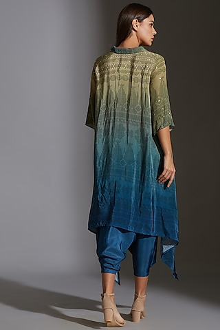 Green & Blue Printed Embroidered Asymmetrical Top by Soup By Sougat Paul