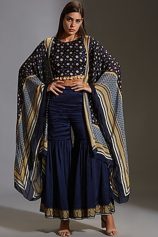 Midnight Blue Printed Sharara Set With Tassels by Soup By Sougat Paul