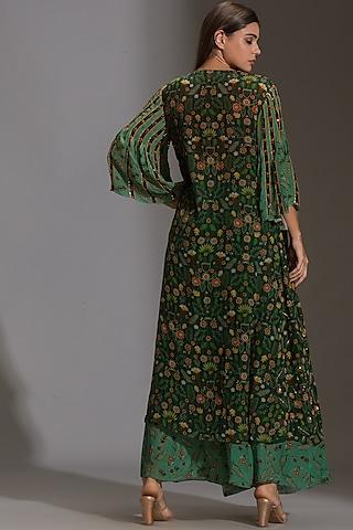 Green Printed Pant Set by Soup by Sougat Paul