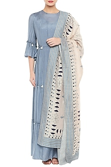 Blue Maxi Dress With Beige Printed Dupatta by Soup by Sougat Paul