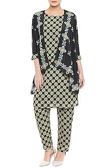 Black Printed Kurta With Pants & Asymmetrical Jacket by Soup by Sougat Paul