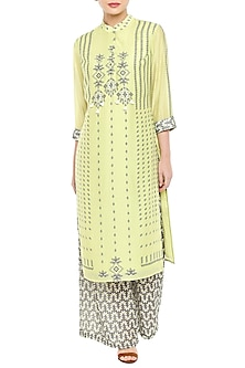 Lime Green Printed Kurta With Grey Palazzo Pants by Soup by Sougat Paul