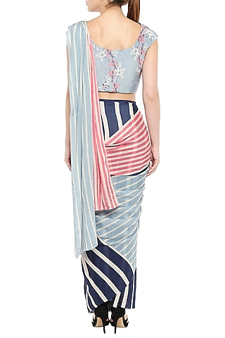 Multi Colored Printed Saree Set by Soup by Sougat Paul