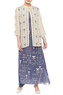 Purple Printed Dress With Beige Jacket by Soup by Sougat Paul