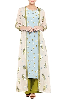 Blue Printed Kurta With Olive Green Pants & Baby Pink Jacket by Soup by Sougat Paul