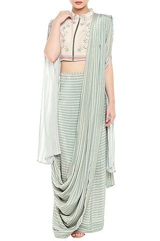 Blue & Beige Embroidered Printed Short Jacket With Drape Saree by Soup by Sougat Paul