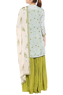 Olive Green Sharara Jumpsuit With Blue Printed Jacket & Baby Pink Dupatta by Soup by Sougat Paul