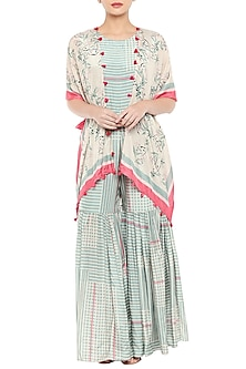 Beige Printed Cape Jumpsuit With Blue Sharara Jumpsuit by Soup by Sougat Paul