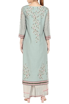 Blue & Pink Printed Kurta With Palazzo Pants by Soup by Sougat Paul