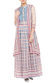 Pink & Blue Printed Maxi Dress With Long Jacket by Soup by Sougat Paul
