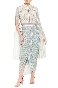 Beige Embroidered & Printed Short Jacket With Blue Drape Dress by Soup by Sougat Paul