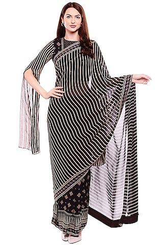 Black Printed Saree Set by Soup by Sougat Paul