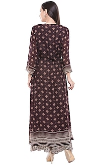 Brown Printed Flared Dress With Jacket by Soup by Sougat Paul