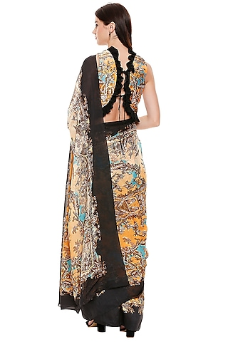 Mustard Yellow & Black Printed Pre-Stitched Saree Set by Soup by Sougat Paul