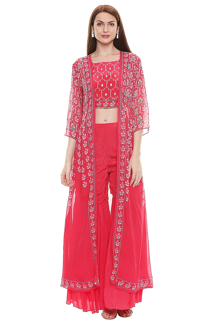 Fuchsia Printed & Embroidered Sharara Set by Soup by Sougat Paul