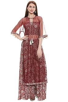 Maroon Printed Cape Set by Soup by Sougat Paul