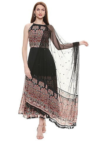 Black Printed Anarkali With Dupatta by Soup by Sougat Paul