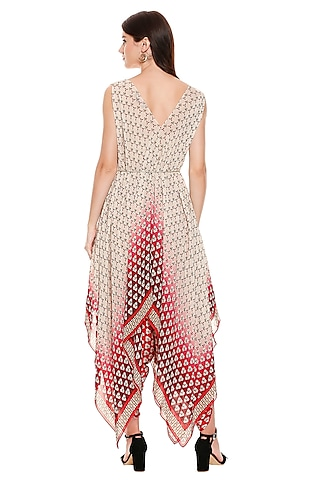 Maroon Printed Top With Pants by Soup by Sougat Paul