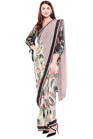 Black & Off White Printed Saree Set by Soup by Sougat Paul