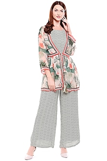 Green Printed Jumpsuit With Off White Jacket by Soup by Sougat Paul