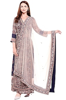 Blue Embroidered & Printed Kurta Set by Soup by Sougat Paul