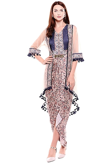 Navy Blue Printed Dress With Cape by Soup by Sougat Paul