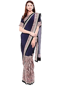 Navy Blue Printed & Embroidered Pre-Stitched Saree Set by Soup by Sougat Paul