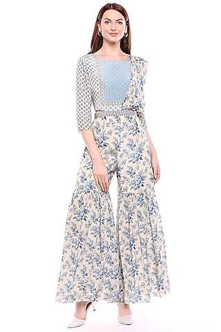 Blue & Off White Printed Sharara Dress by Soup by Sougat Paul