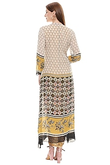 Yellow Embroidered Dress With Jacket by Soup by Sougat Paul