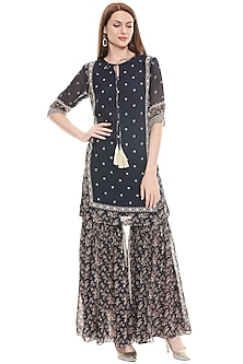 Persian Blue & Off White Embroidered Kurta With Pants by Soup by Sougat Paul