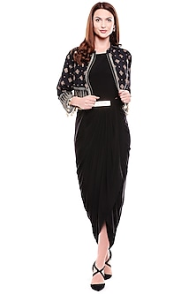 Black Draped Dress With Printed Jacket by Soup by Sougat Paul