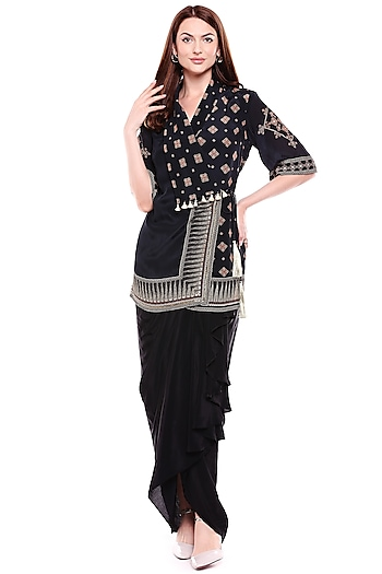 Black Embroidered Jacket With Dhoti Skirt by Soup by Sougat Paul